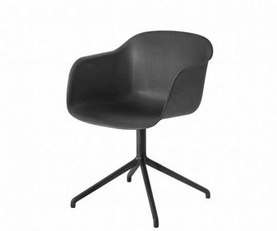 Muuto Fiber Chair Swivel - arm - polished aluminium