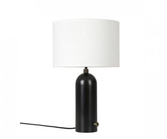 Gubi Gravity bordlampe stål kanvas tændt