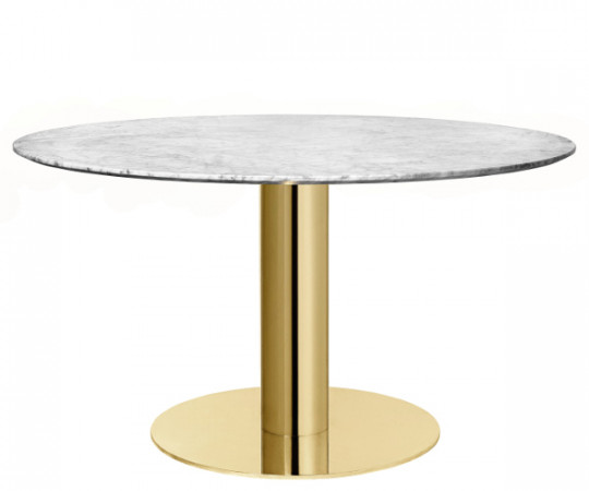 Gubi 2.0 Spisebord Rund Marmor - Messing - Ø 130 cm