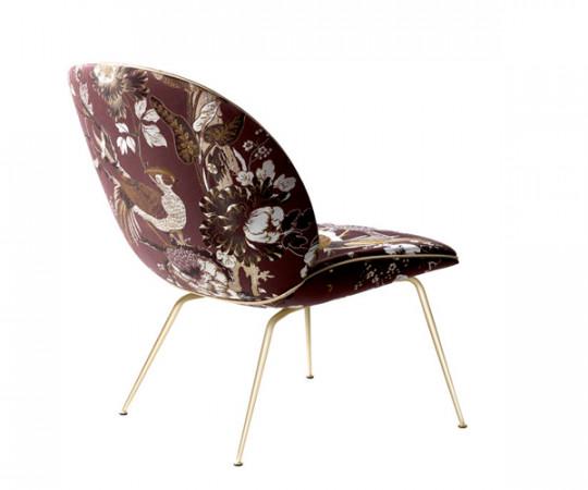 Gubi Beetle Lounge Chair - Dedar Silk Bird Jacquard
