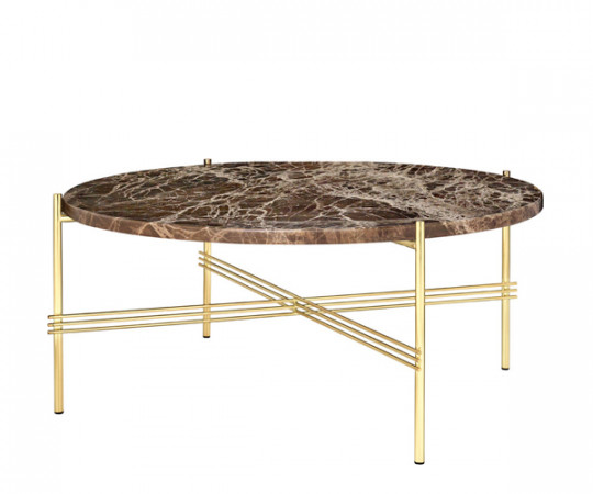 Gubi TS Coffee Table - Large Dia.80cm. - Brun Marmor Messing Stel