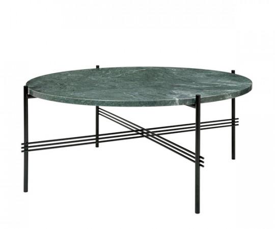 Gubi TS Coffee Table - Large Dia.80cm. - Grøn Marmor Sort Stel