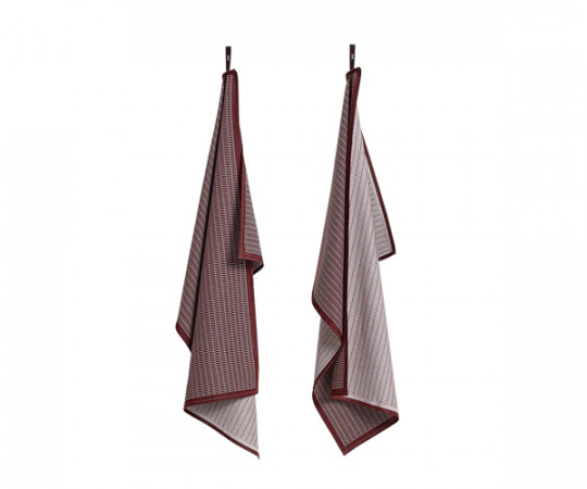 HAY Tea Towels - Dash Grid Bordeaux
