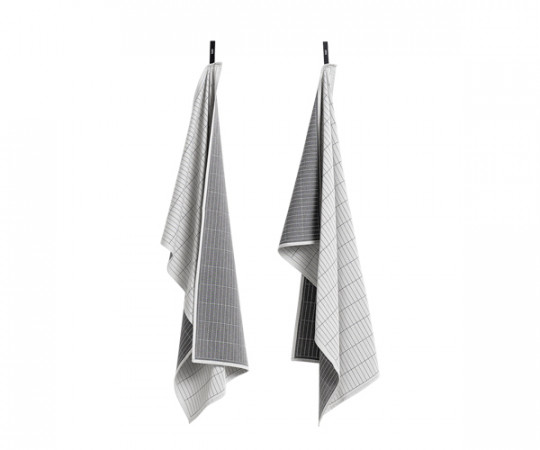 HAY Tea Towels - Dash Grid Grey