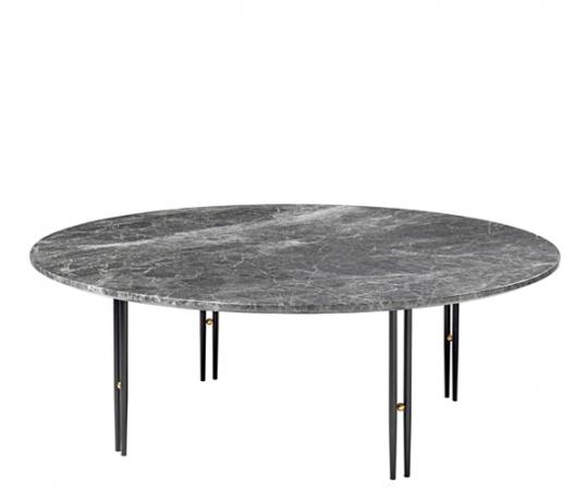 Gubi IOI Sofabord - Ø100cm - Grå Marmor - Sort Stel
