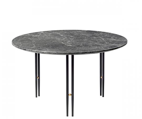 Gubi IOI Sofabord - Ø70cm - Grå Marmor - Sort Stel