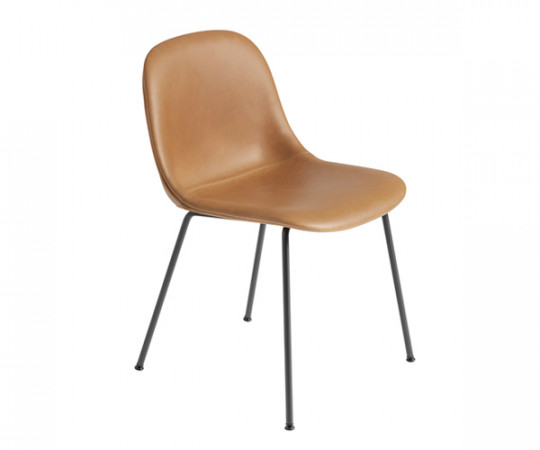 Muuto Fiber Side Chair - Tube Base - Cognac Læder