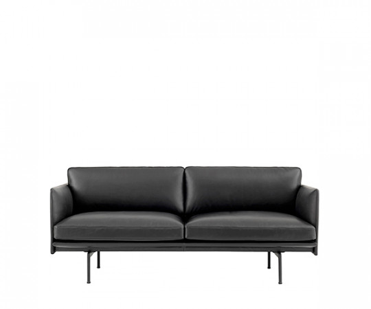 Muuto Outline Sofa Sort Læder