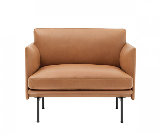 Muuto - Outline Lænestol - Cognac Silk Leather