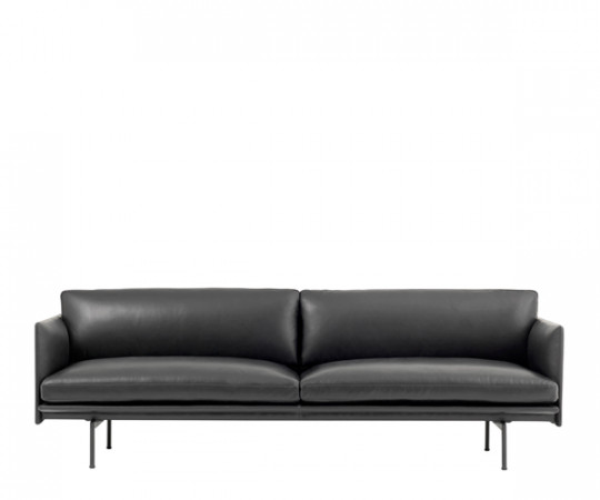 Muuto Outline sofa sort silk læder
