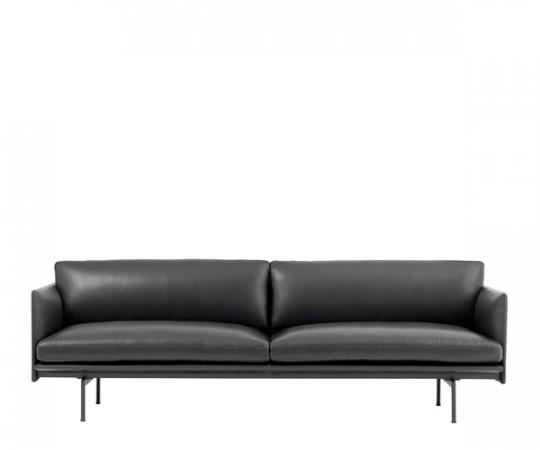 Muuto Outline sofa sort silk læder