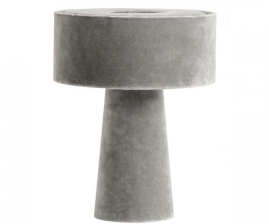 nordal grå velour lampe mushrrom