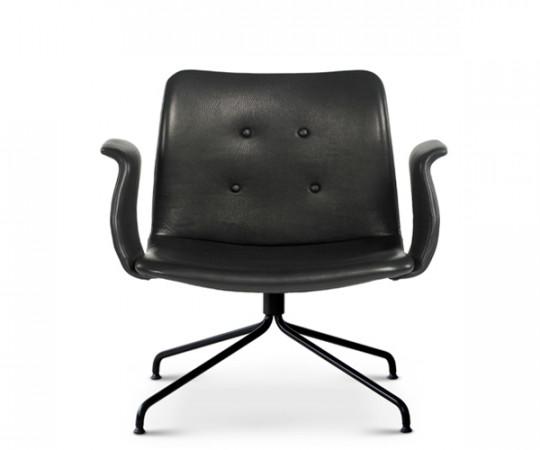 Bent Hansen Primum Lounge Stol - Med Armlæn - Sort Zenso 2 Læder
