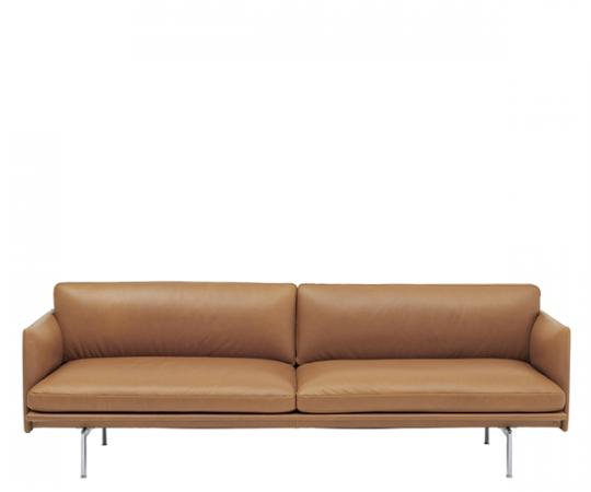 Muuto - Outline Sofa - 3-pers. - Cognac Refine Læder - Alu.
