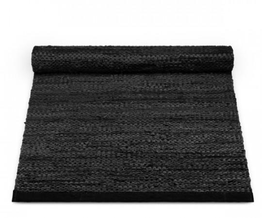 rug solid læder tæppe black