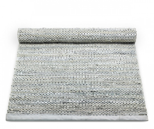 rug solidt light grey læder