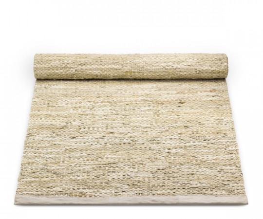 rug solid beige læder tæppe