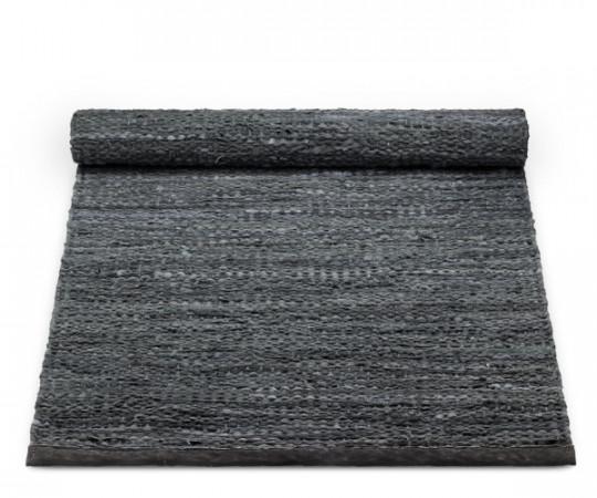 rug solid dark grey leather