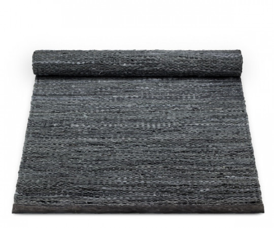 rug solid dark grey leather