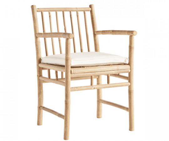 ine k home bambus spisestol med armlæn med hynde