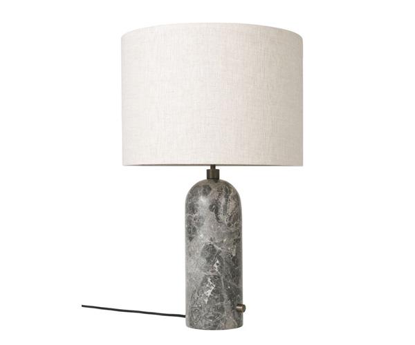 Billede af Gubi Gravity Bordlampe - Large - Grå Marmor Fod - Kanvas Skærm