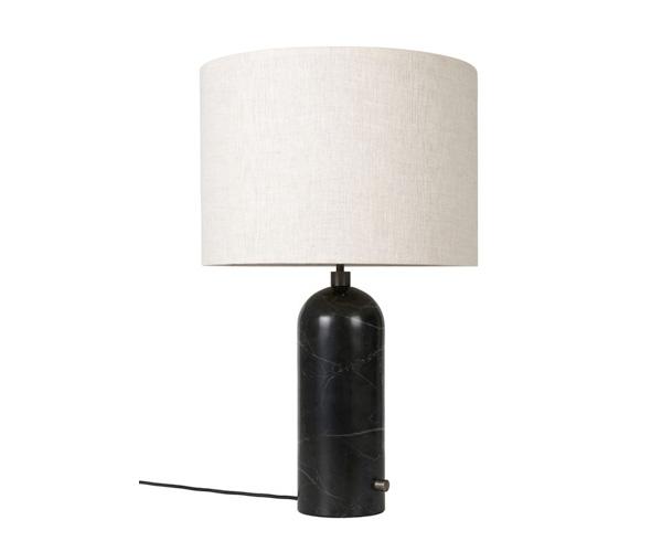 Billede af Gubi Gravity Bordlampe - Large - Sort Marmor Fod - Kanvas Skærm