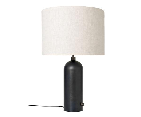 Billede af Gubi Gravity Bordlampe - Large - Sort Stålfod - Kanvas Skærm