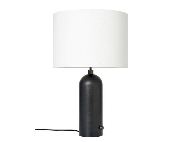 Billede af Gubi Gravity Bordlampe - Large - Sort Stålfod - Hvid Skærm