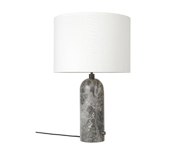 Billede af Gubi Gravity Bordlampe - Large - Grå Marmor Fod - Hvid Skærm