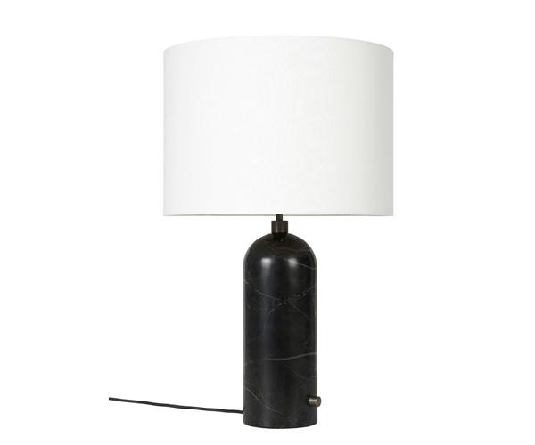 Billede af Gubi Gravity Bordlampe - Large - Sort Marmor Fod - Hvid Skærm