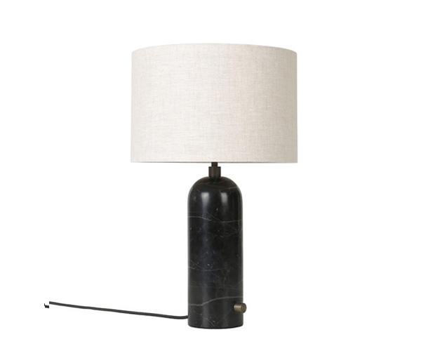 Billede af Gubi Gravity Bordlampe - Small - Sort Marmor Fod - Kanvas Skærm