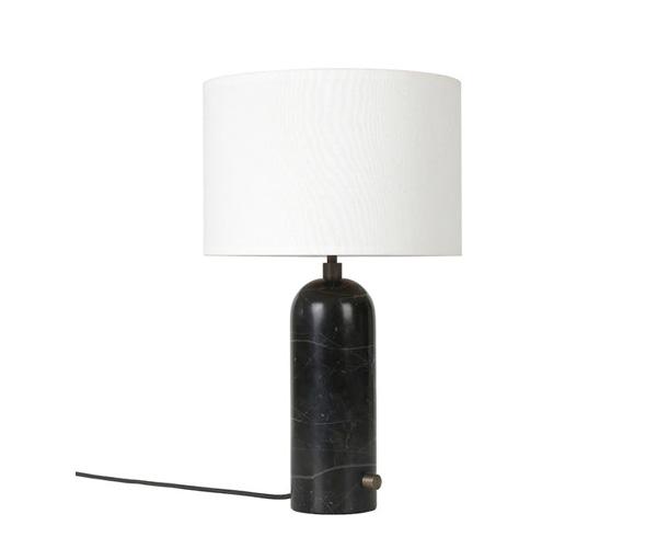 Billede af Gubi Gravity Bordlampe - Small - Sort Marmor Fod - Hvid Skærm