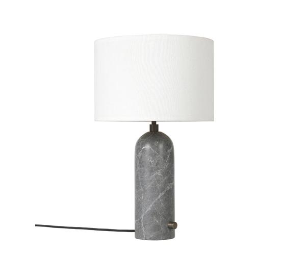 Billede af Gubi Gravity Bordlampe - Small - Grå Marmor Fod - Hvid Skærm